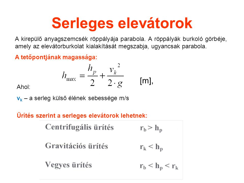 Serleges elevátorok [m],